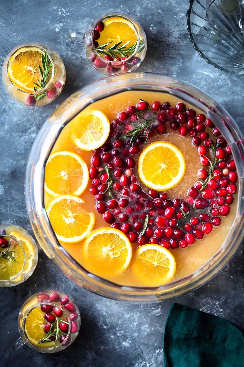 Cranberry Orange Punch With Cranberry-Rosemary Ice Ring
