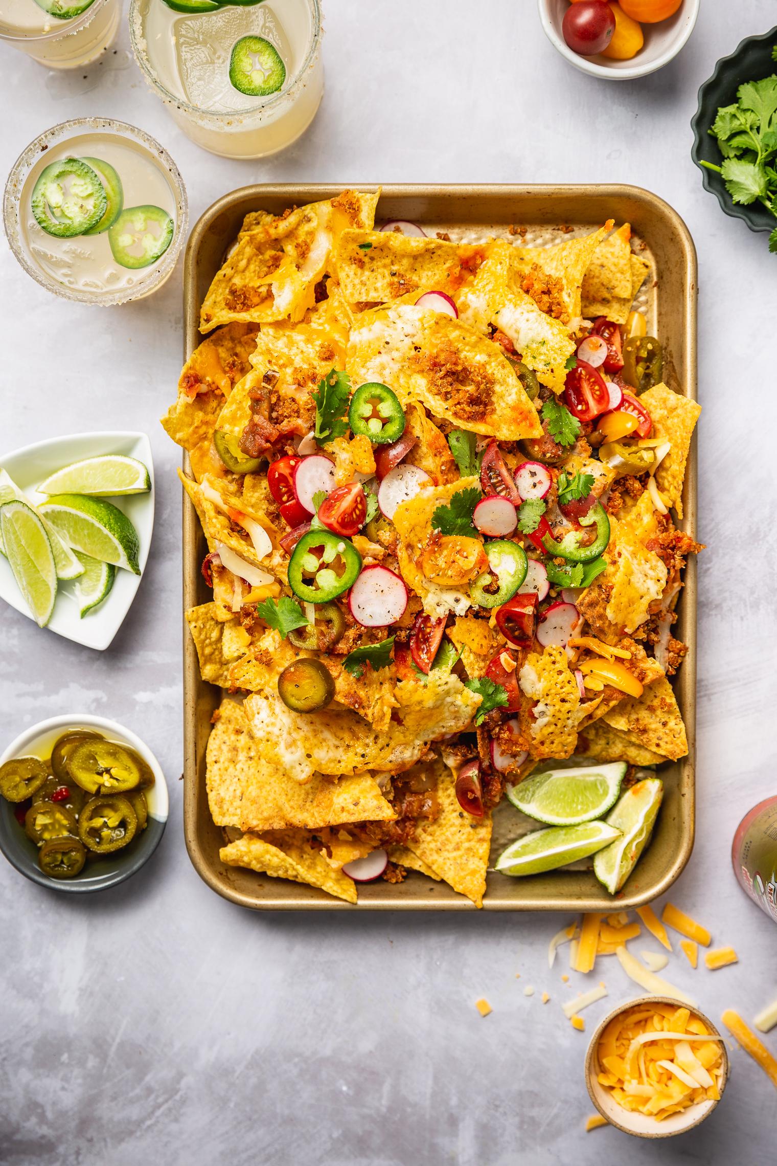 Smoky Quinoa Vegetarian Nachos on sheet pan