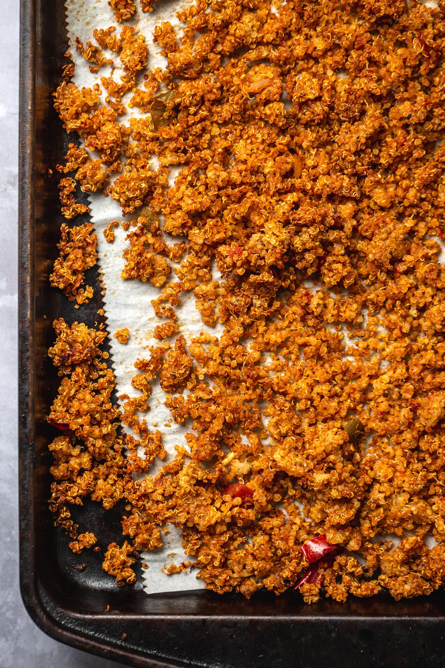 smoky quinoa on baking tray