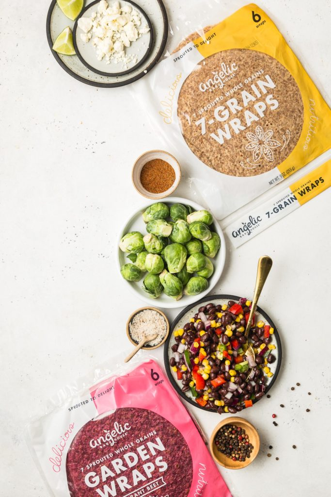 Spicy Brussels Sprout Wrap with Black Bean & Corn Salsa