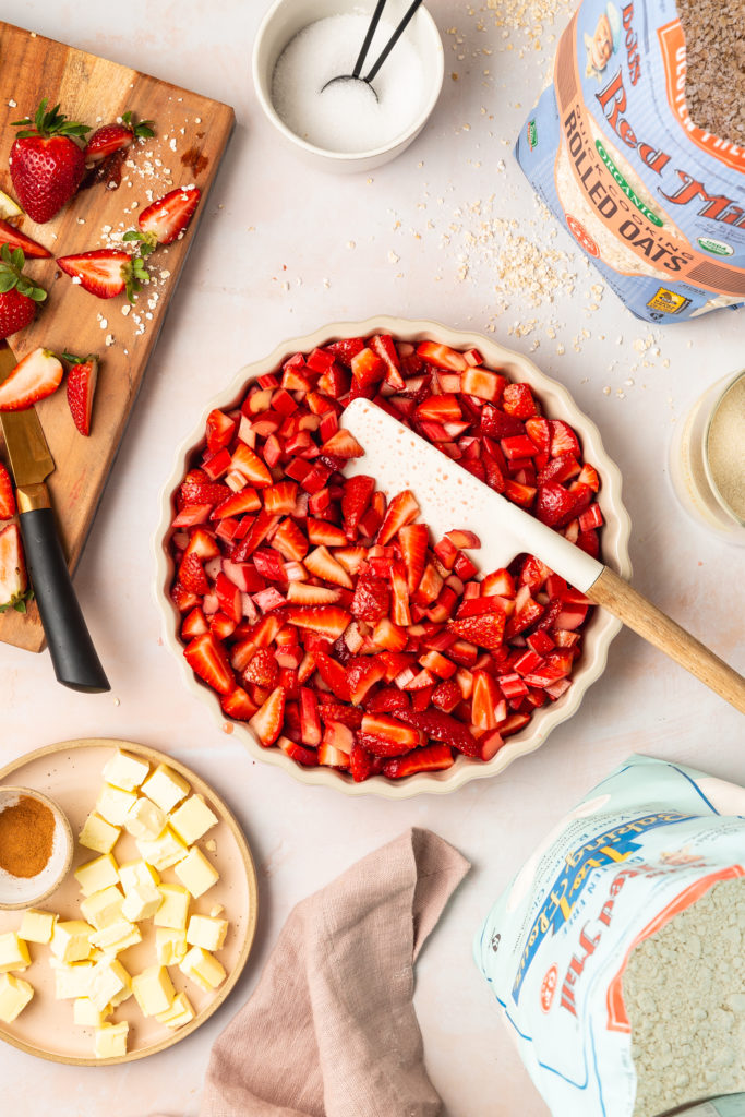 assembling a gluten free strawberry rhubarb crisp