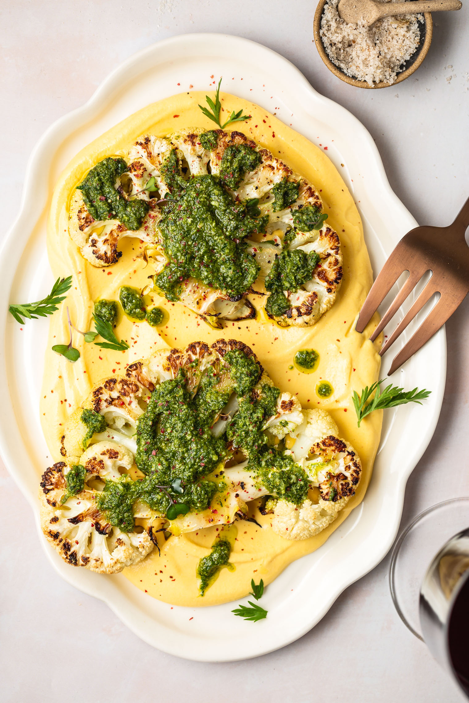 Cauliflower Steak with Carrot Miso Puree & Carrot-top Pesto