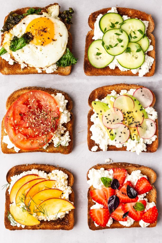 six variations of Cottage Cheese Toast ideas on white countertop