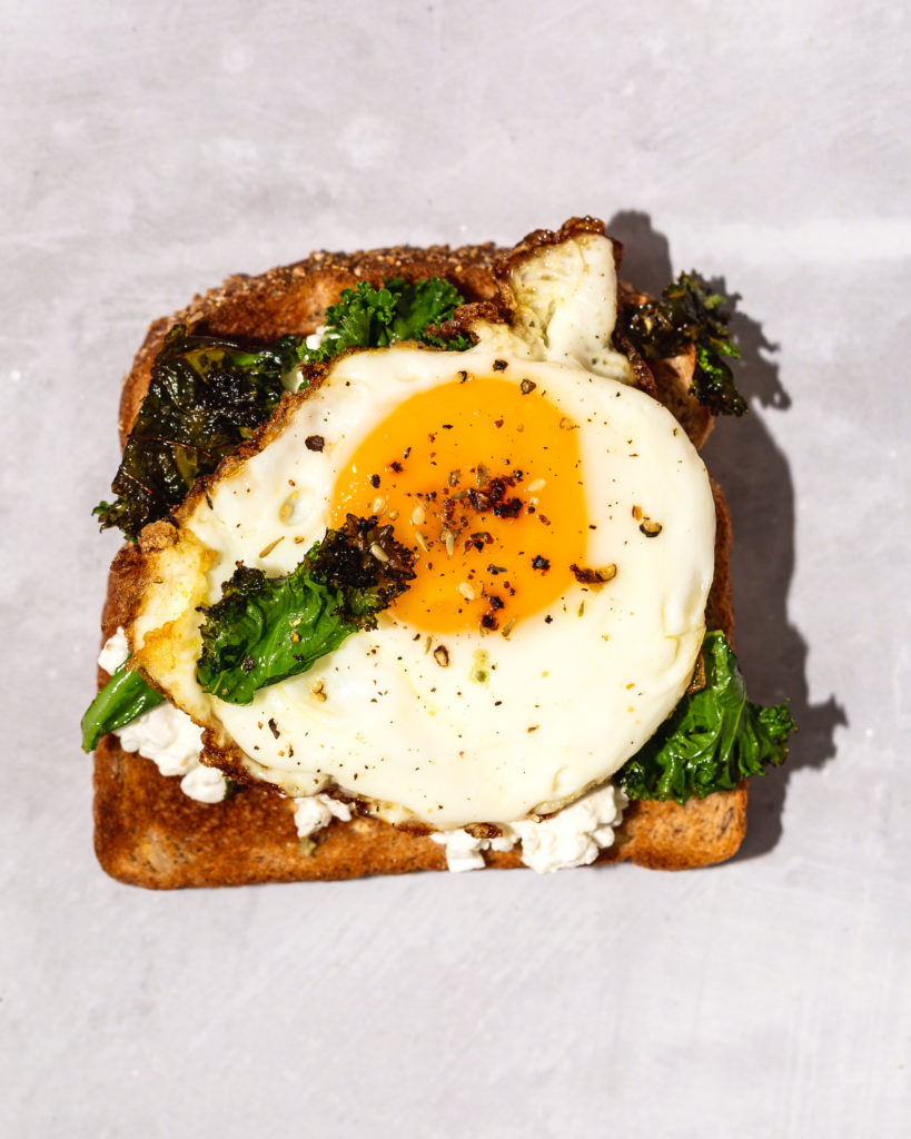 Cottage Cheese Toast with fried egg and kale