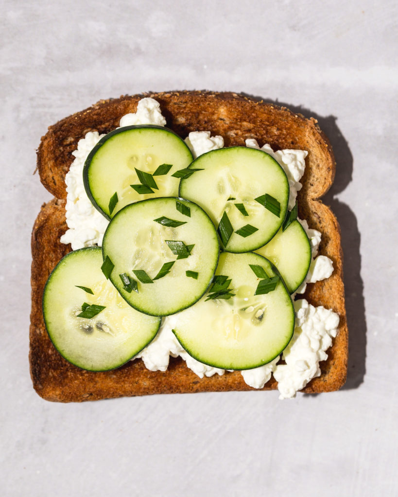 Cottage Cheese on Toast with cucumber and chives