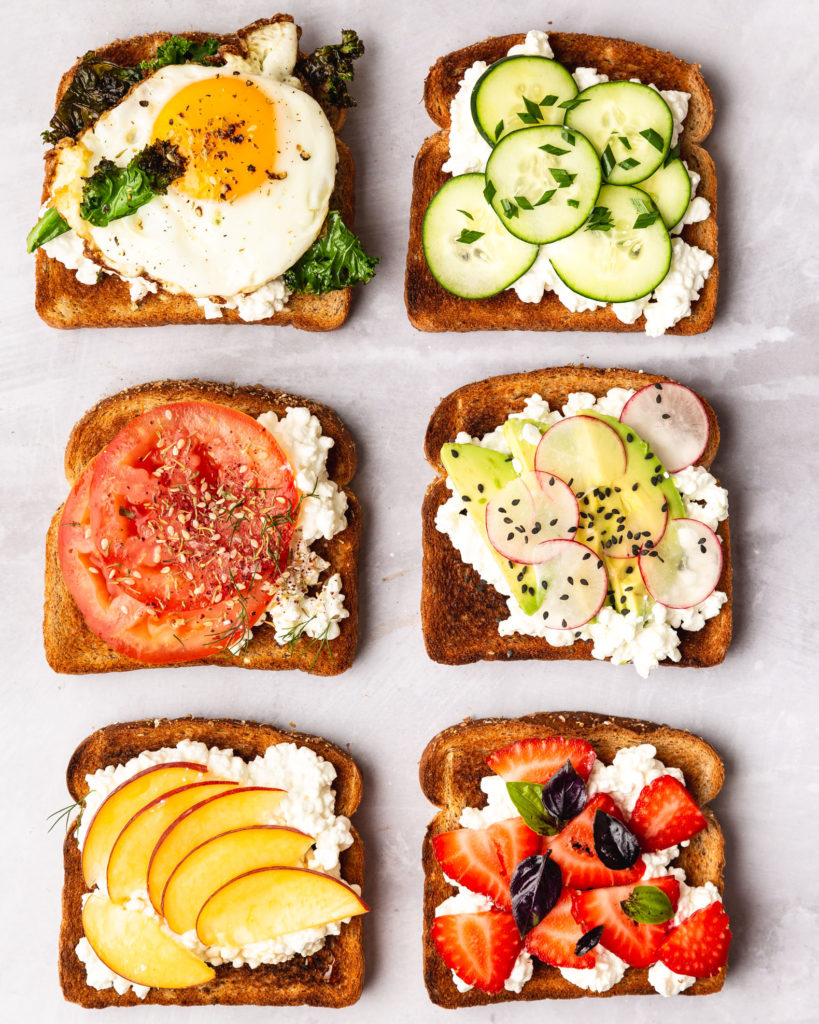 six slices of cottage cheese toast with various toppings