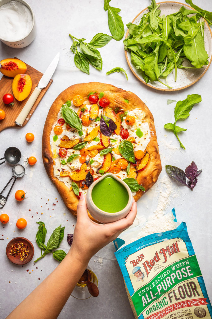 Peach Burrata Tomato Pizza