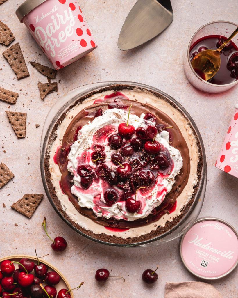 Cherry Fudge Ice Cream Pie