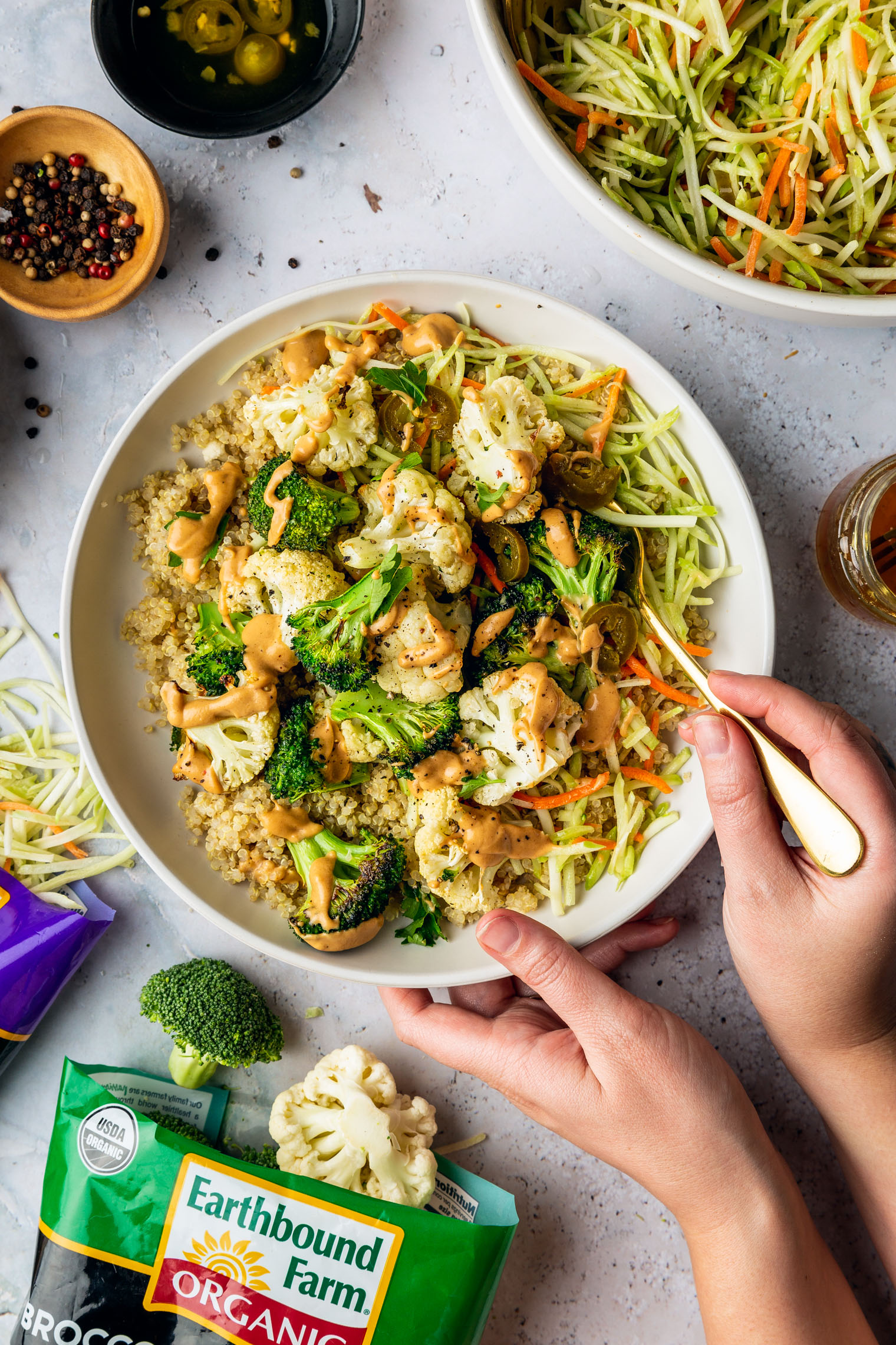 Roasted Broccoli & Cauliflower Bowl with Spicy Peanut Sauce & Tangy Jalapeno Broccoli Slaw