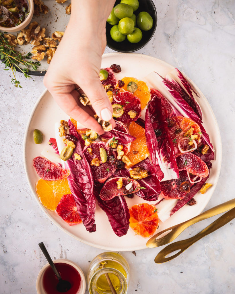 Winter Citrus Salad with Rosemary Candied Walnuts & Red Endive