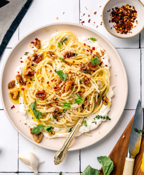Walnut Ricotta Lemon Pasta