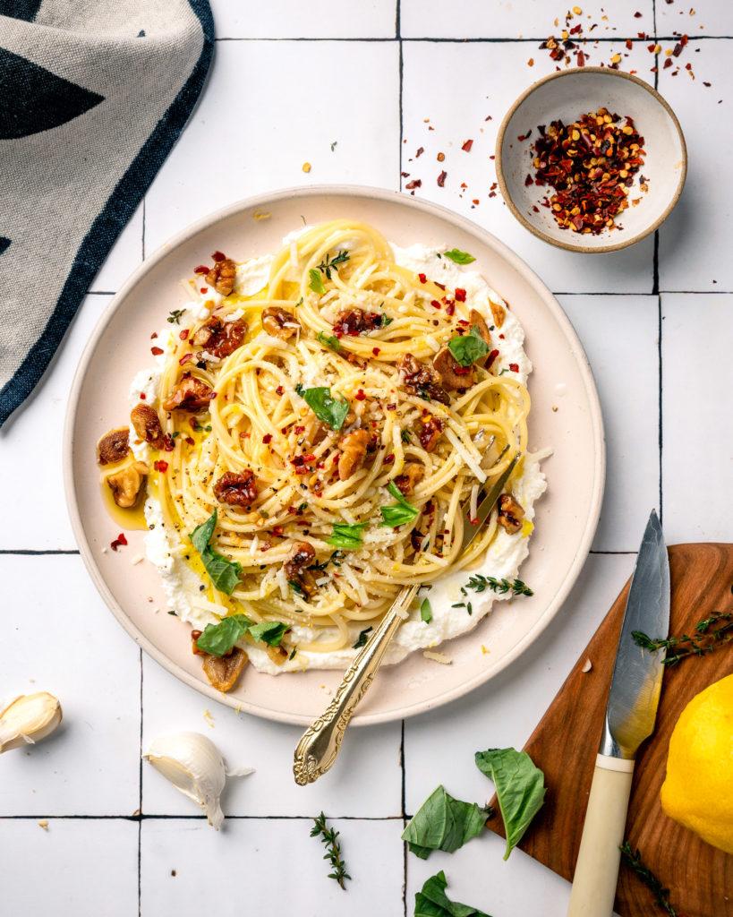 overhead view of Walnut Lemon Ricotta Pasta on white plate