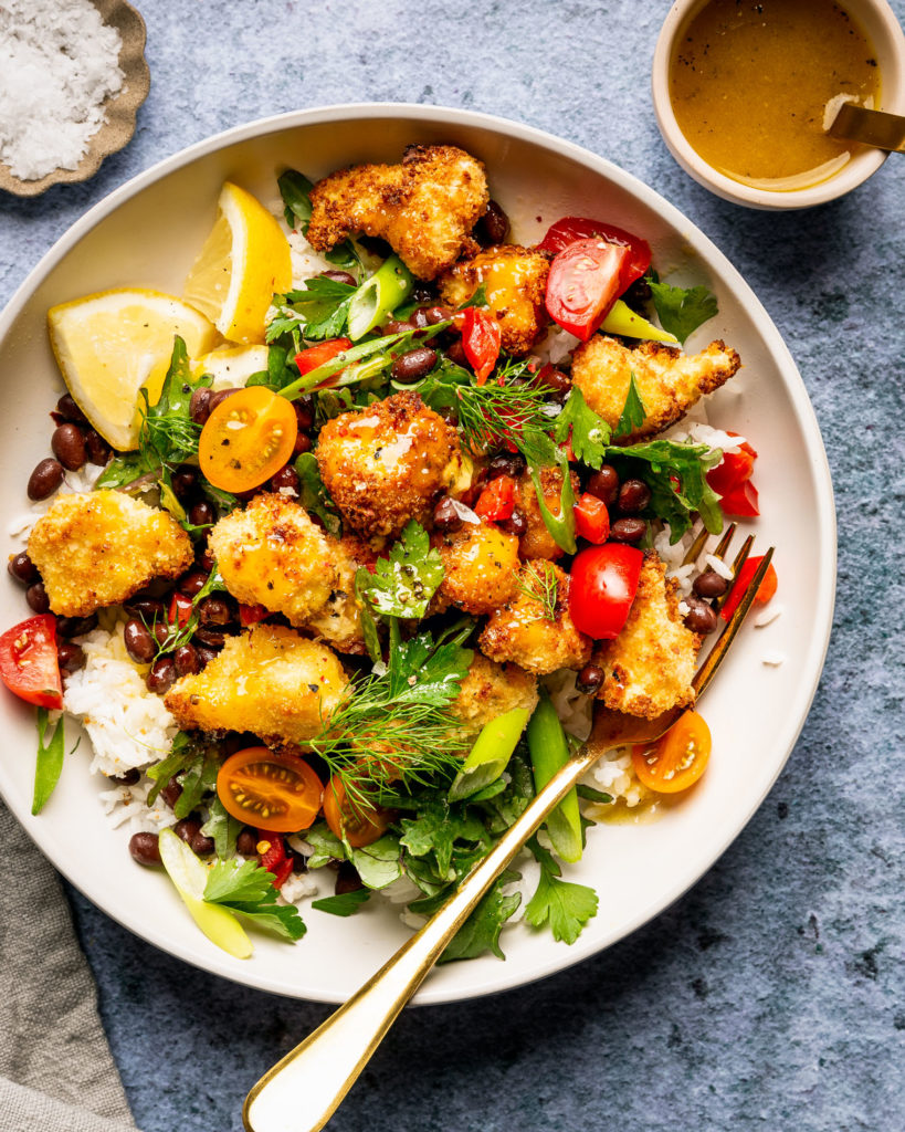 Coconut Cauliflower Bowl With Spicy Mango Vinaigrette