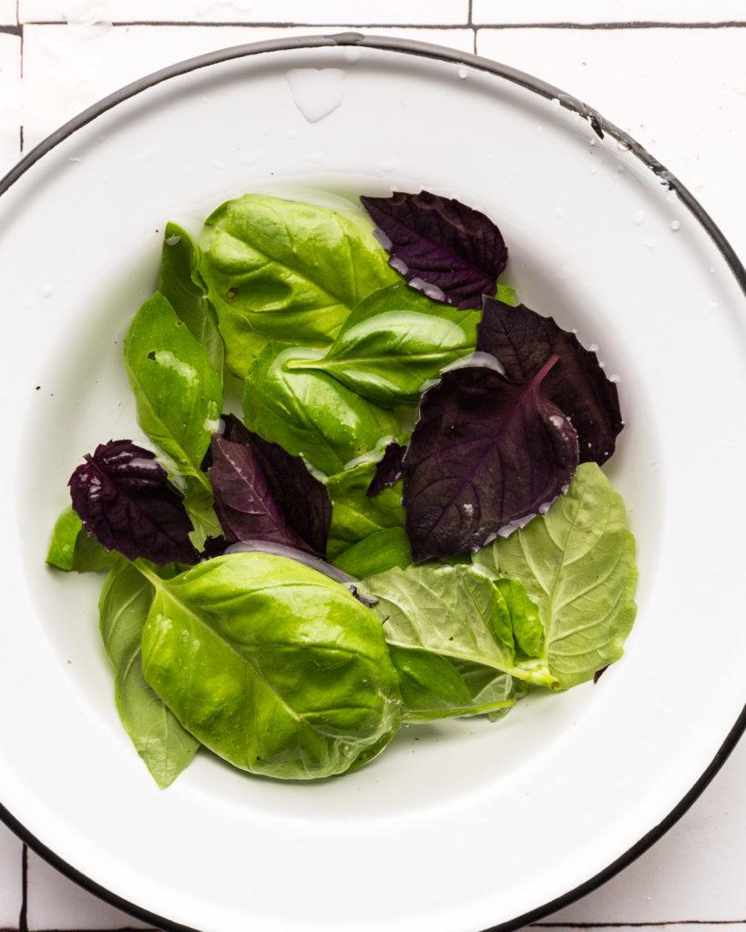 fresh basil in white plate