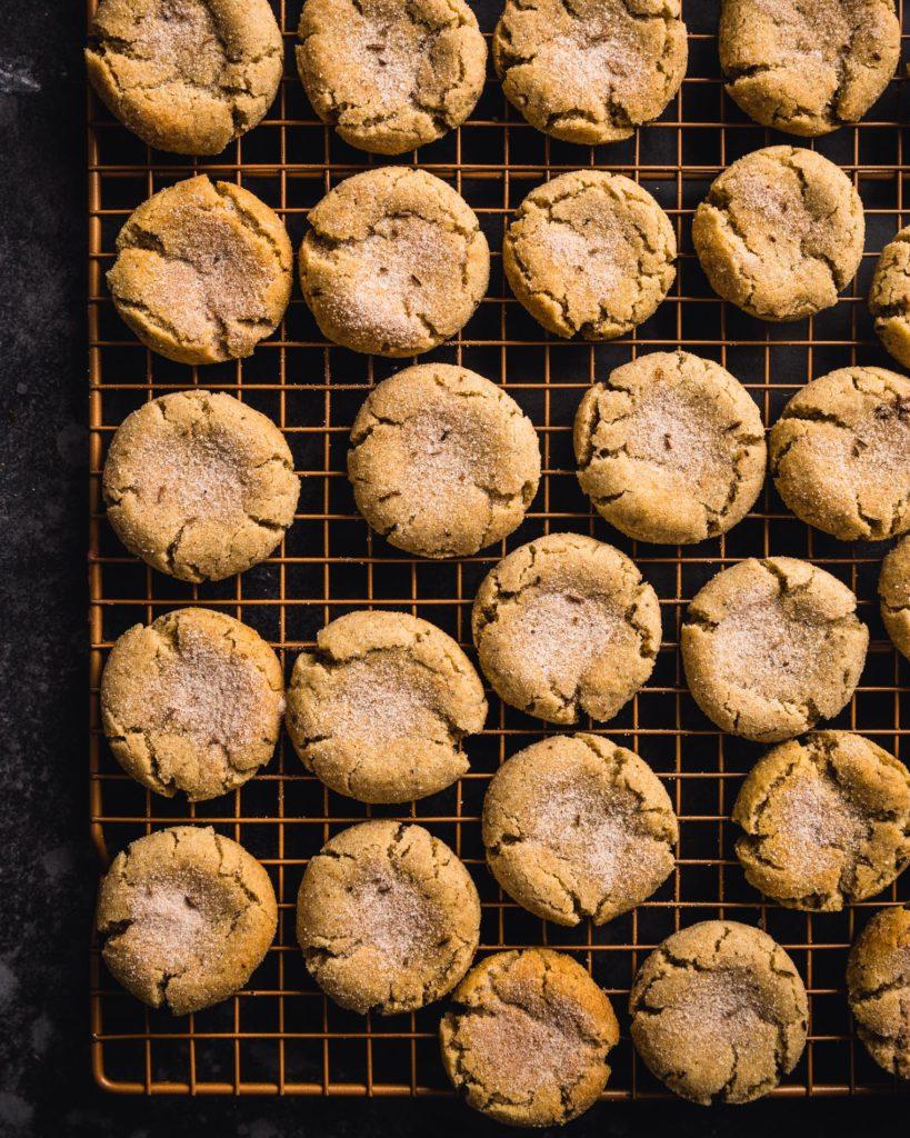 Rye Caraway Snickerdoodle Cookies on baking sheet