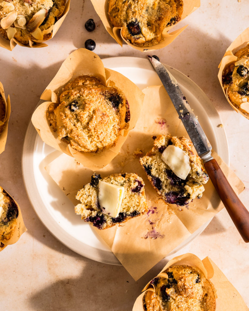 close-up of Almond Blueberry & Peach Sour Cream muffins