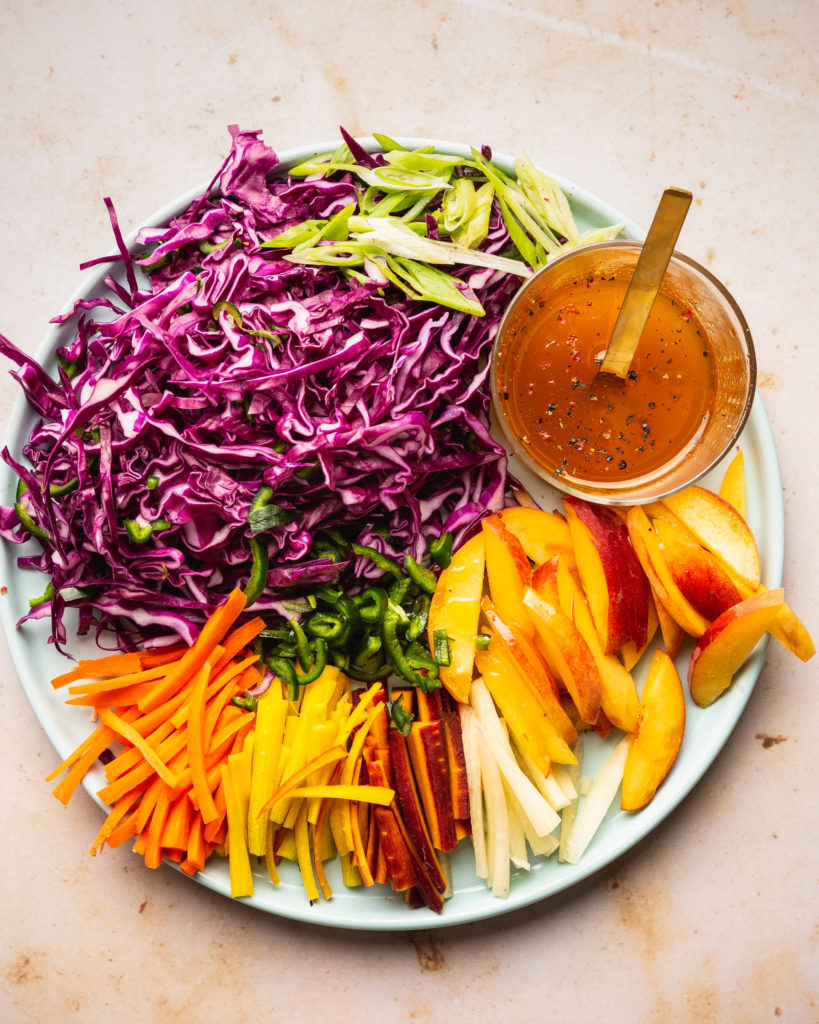 ingredients for the Sweet and Spicy Peach Coleslaw