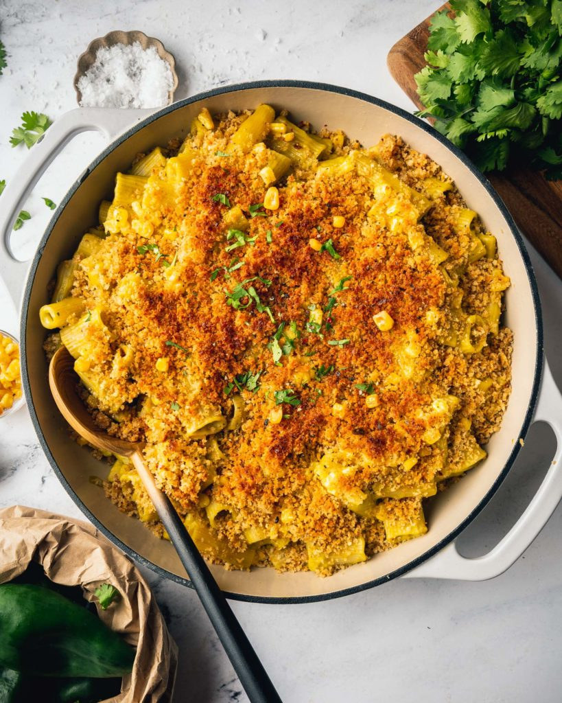 overhead Cauliflower Mac and Cheese with Poblano and Corn