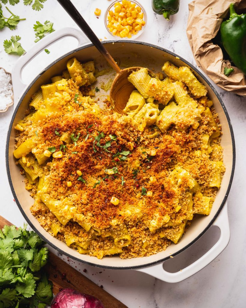 Cauliflower Mac and Cheese with Poblano and Corn
