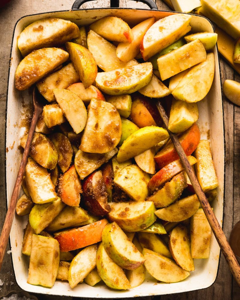 apples tossed with cinnamon and spices
