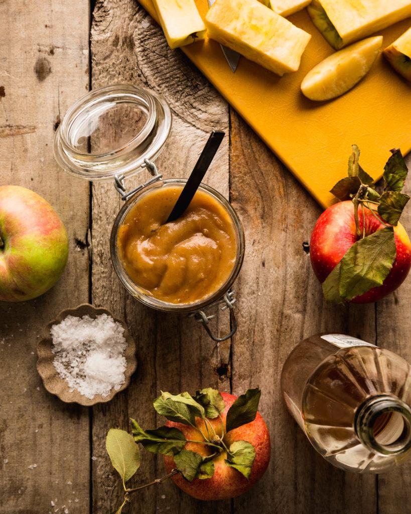 overhead of easy apple butter in jar