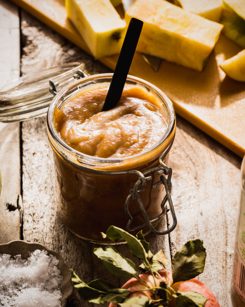 side angle of easy apple butter in jar