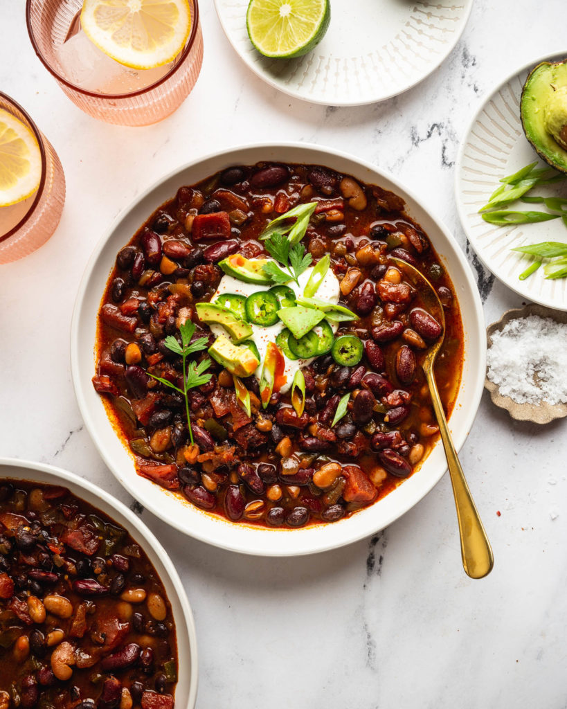 chili bowl on counter with topping options