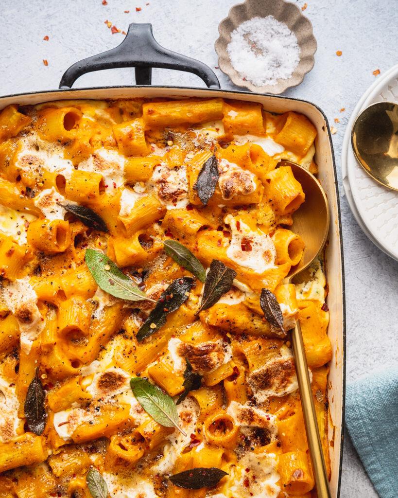 close up of Vegetarian Baked Pumpkin Pasta with Crispy Sage & Ricotta