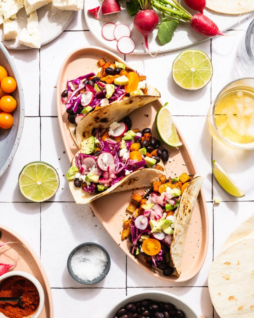 Overhead of chorizo spiced veggie tacos