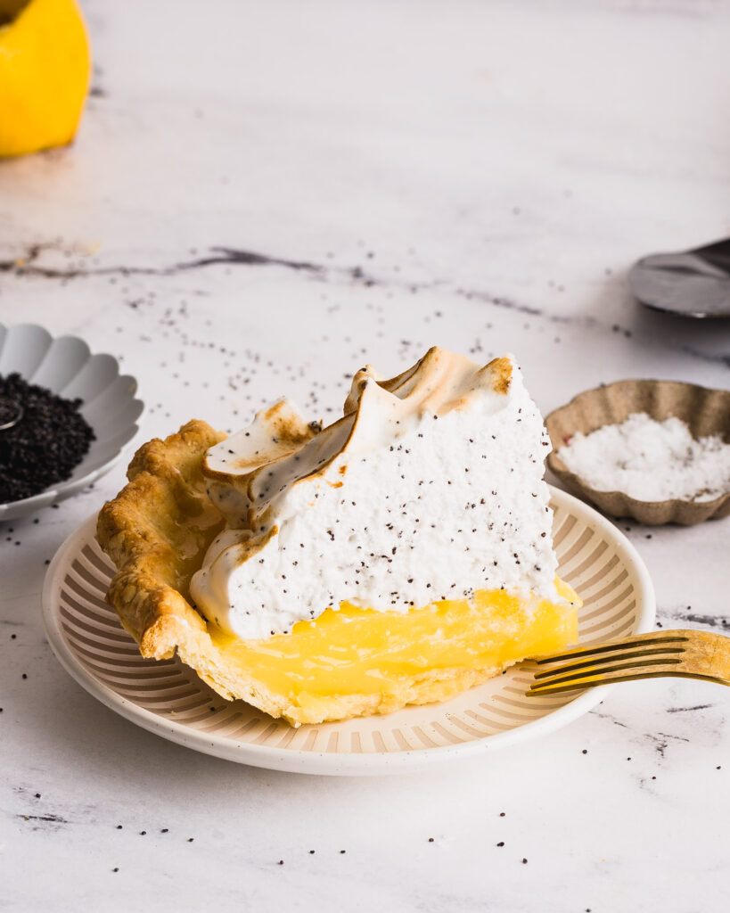 a slice of the Lemon Poppyseed Meringue Pie