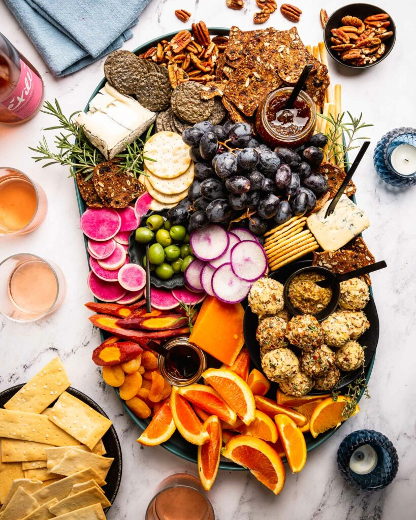 overhead of fall cheese platter