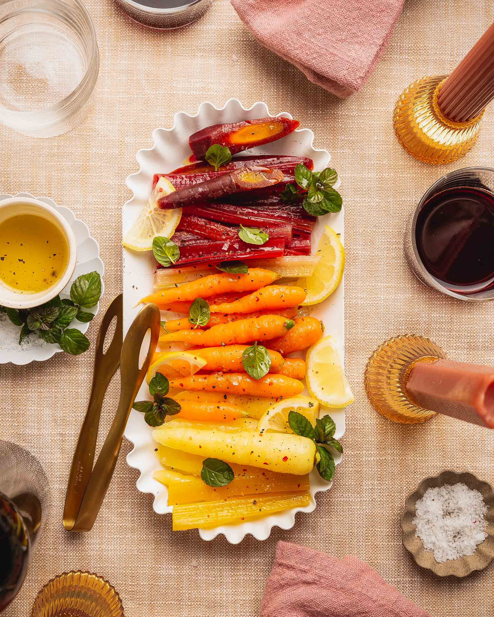 Rainbow Carrots and chard overhead shot