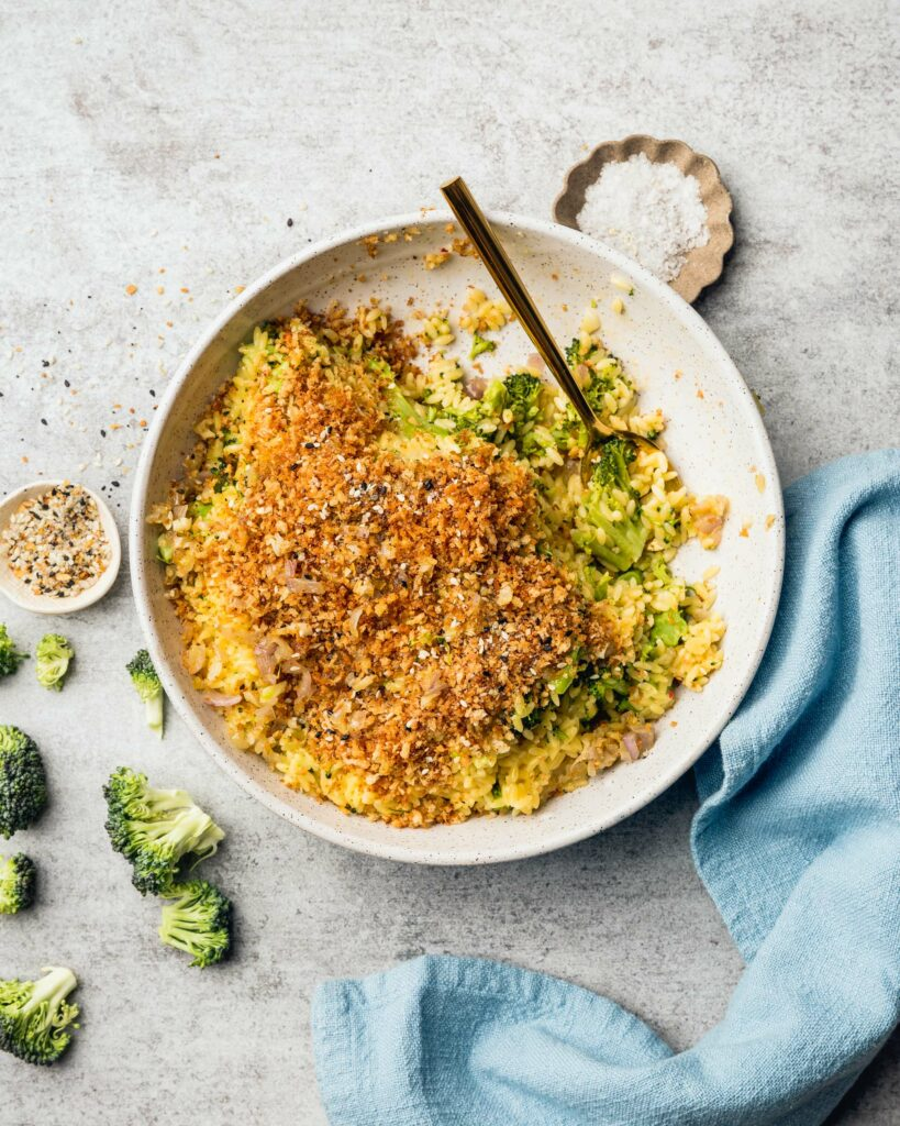 table with Cheddar Broccoli Orzo with Everything Bagel Spice Mix Breadcrumbs