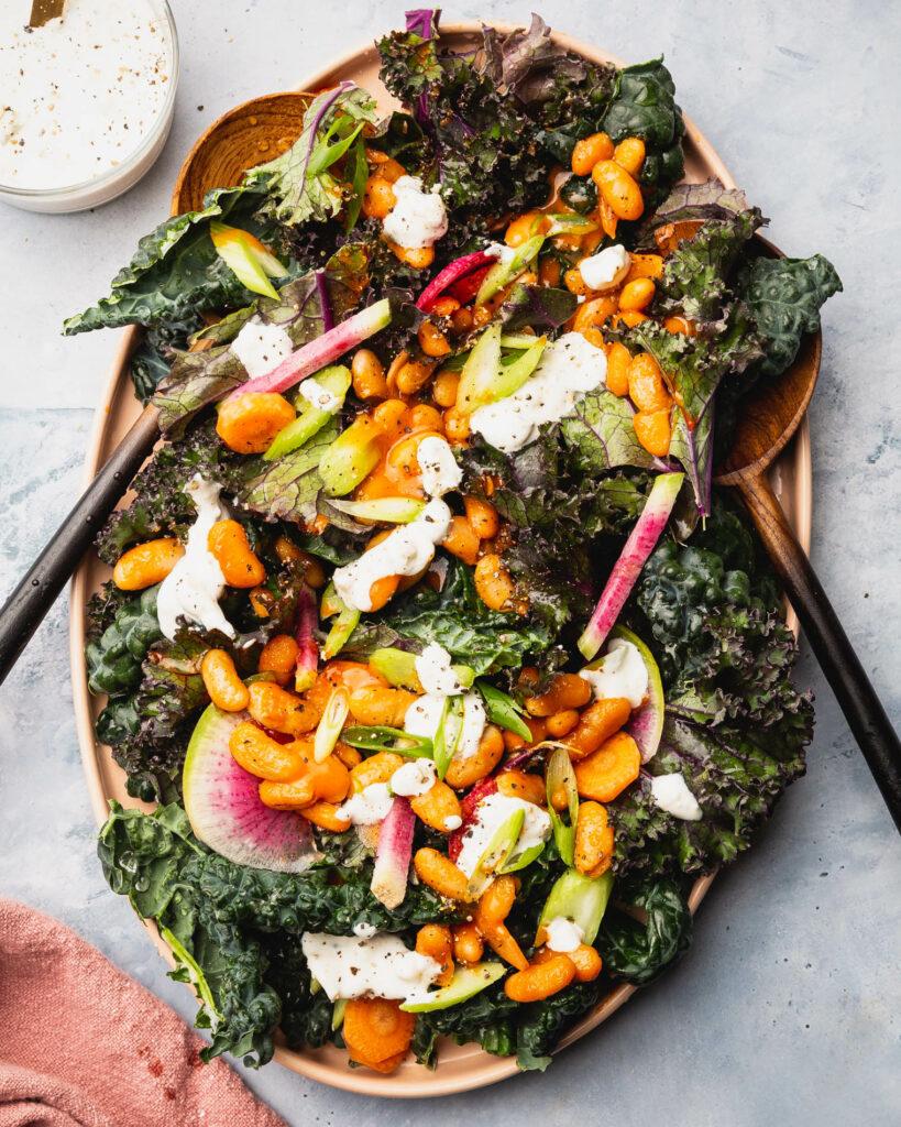 buffalo white bean kale salad