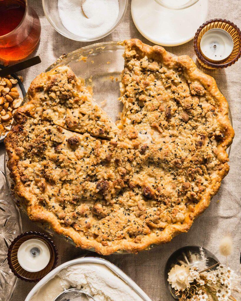 close up of Apple Black Sesame and Cardamom Pie