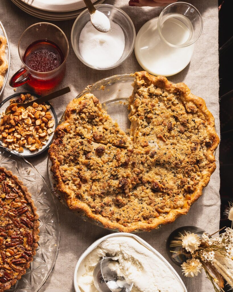 Apple Black Sesame and Cardamom Pie