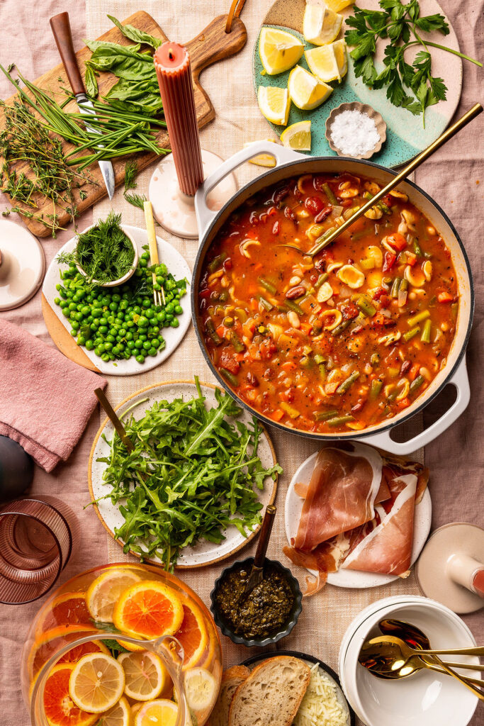 minestrone soup from Tables & Spreads cookbook