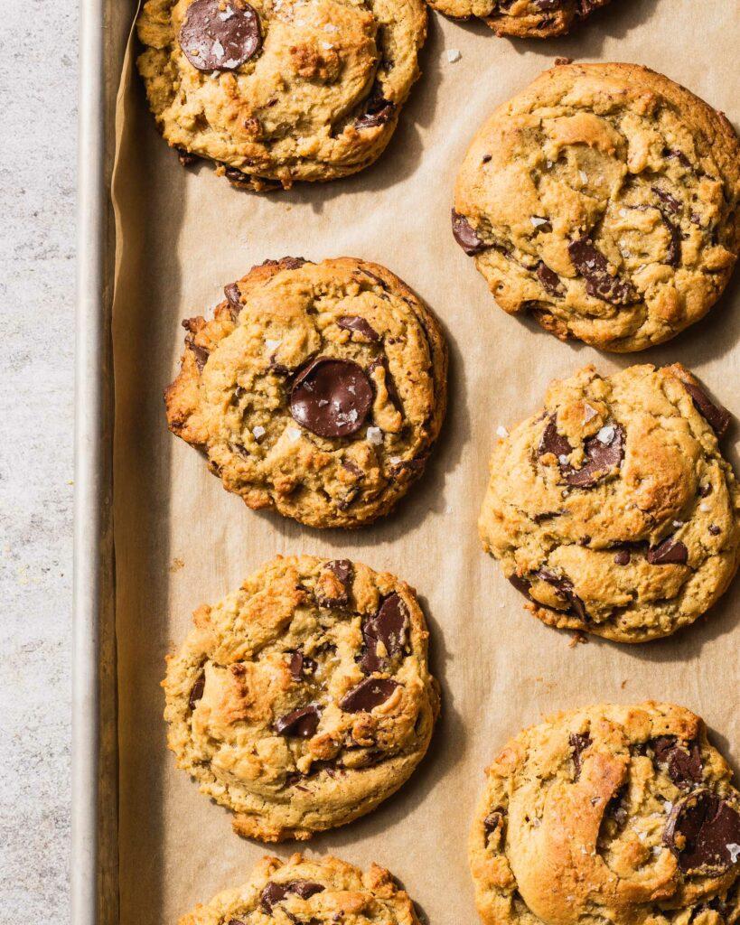 tray of chocolate chunk cookies