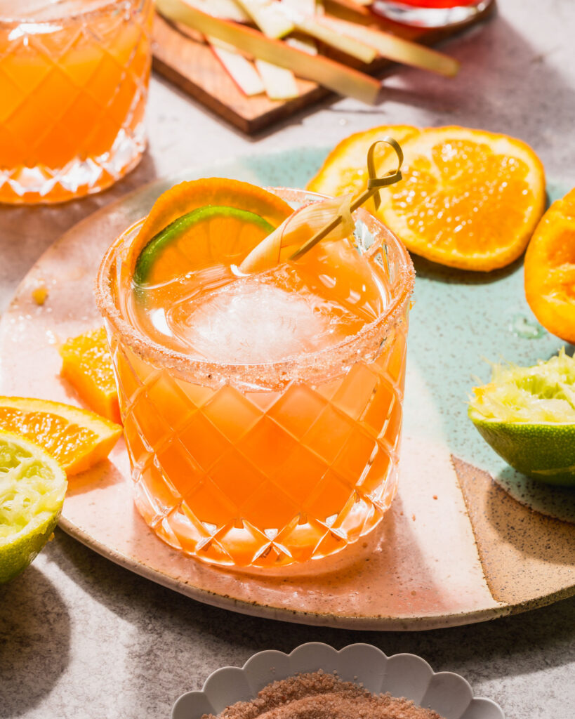 orange rhubarb margaritas