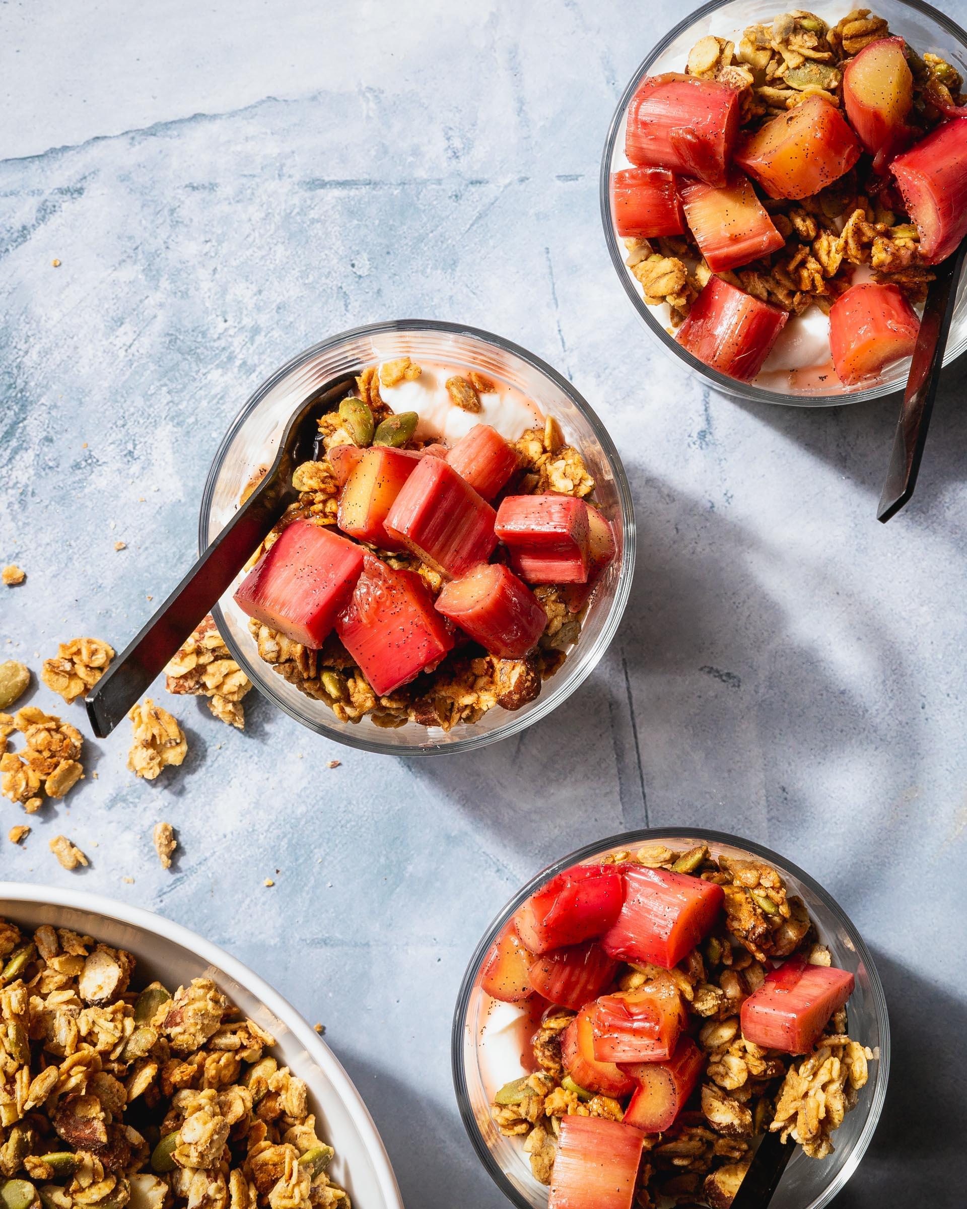 granola bar with stewed rhubarb