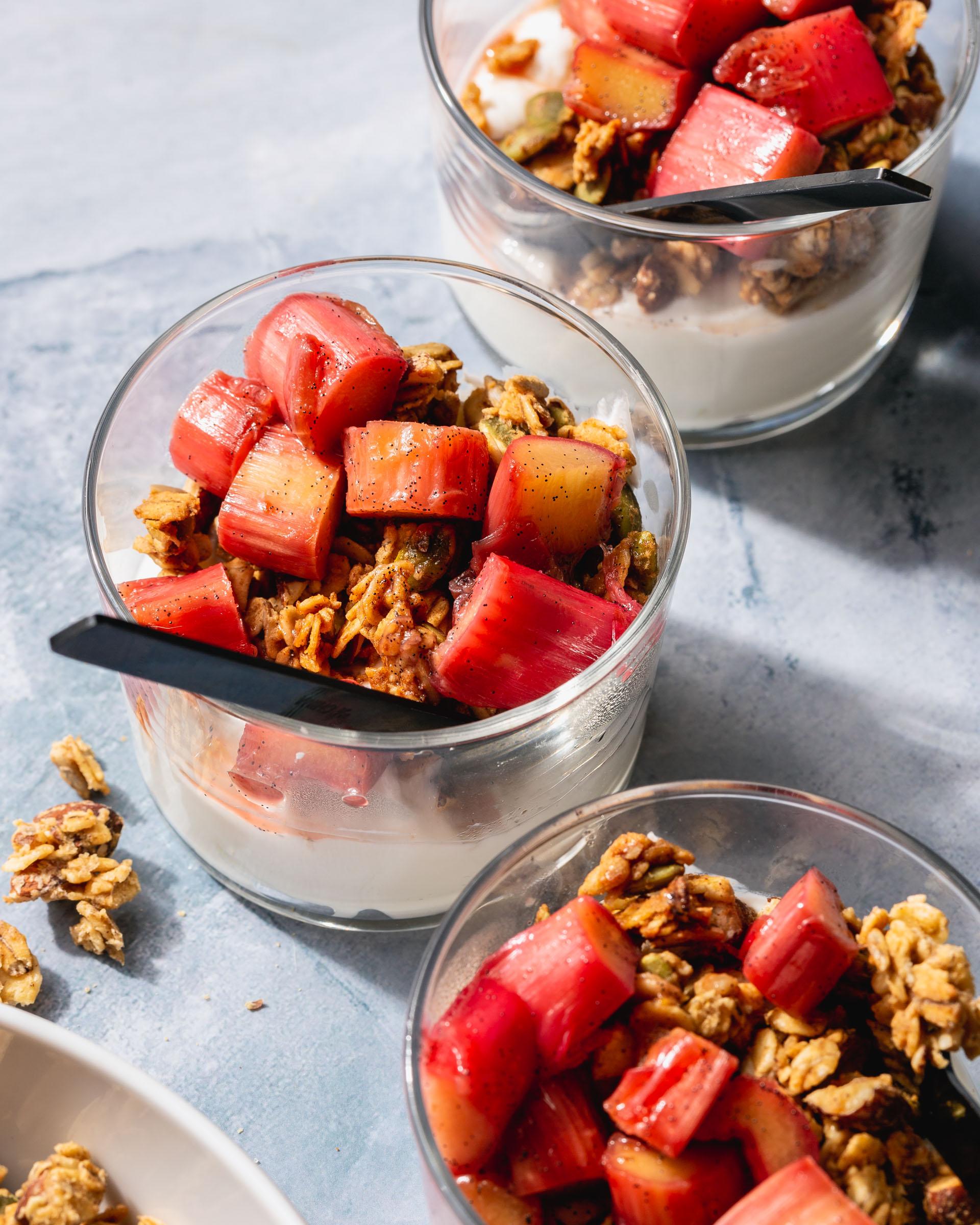granola bowl with stewed rhubarb
