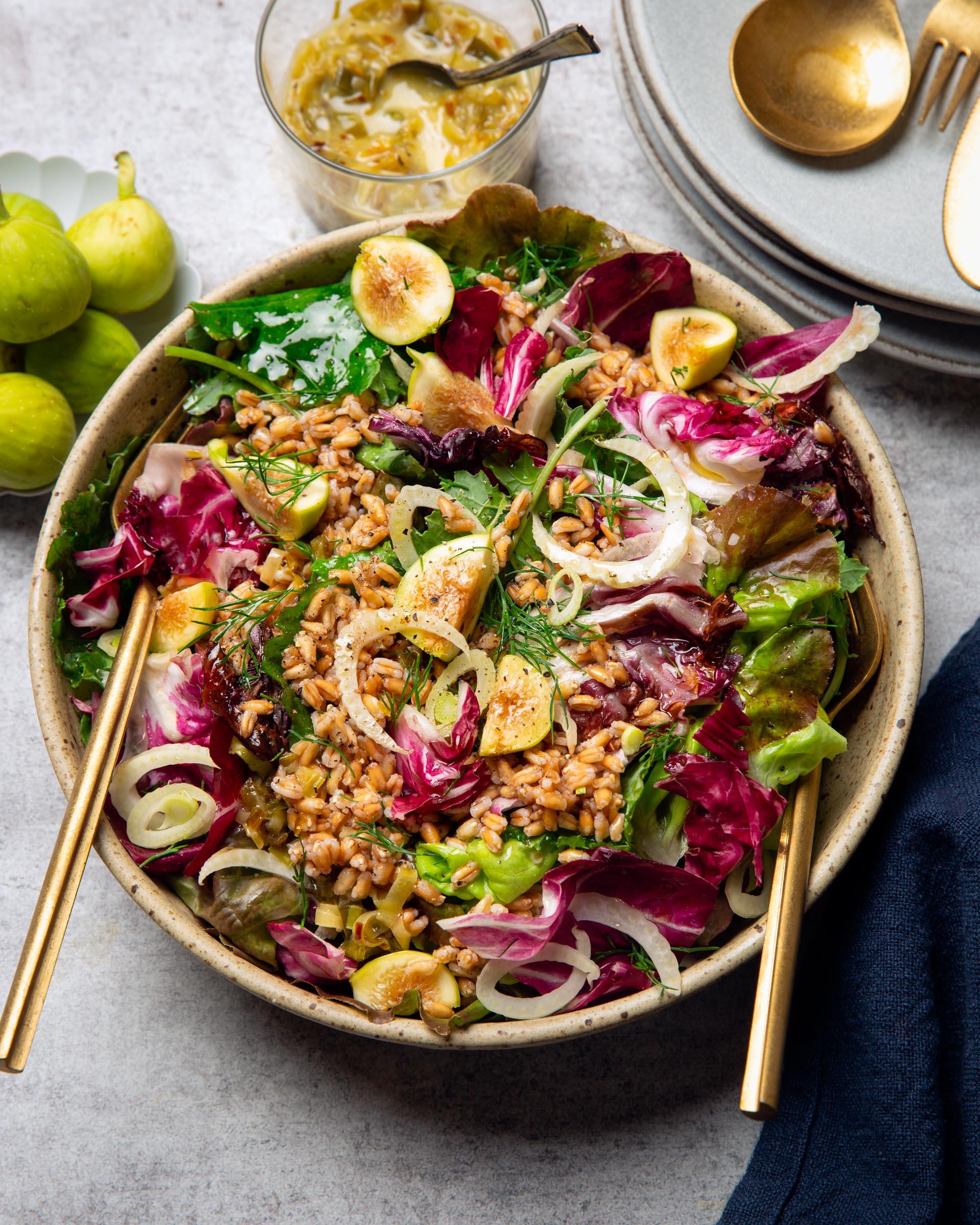 Farro Radicchio Salad in serving bowl